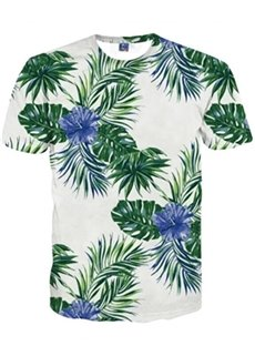 Vivid Round Neck Blue Flower and Leaves Pattern 3D Painted T-Shirt