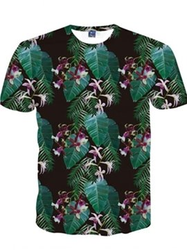 Vivid Round Neck Leaves Pattern 3D Painted T-Shirt