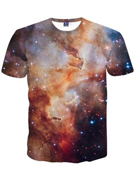 Modest Round Neck Brown Galaxy Pattern 3D Painted T-Shirt