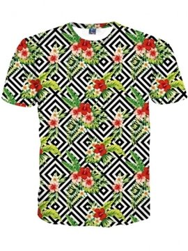 Pretty Round Neck Flowers Pattern 3D Painted T-Shirt