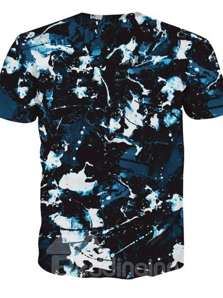 Special Round Neck Camouflage Pattern Dark Blue 3D Painted T-Shirt