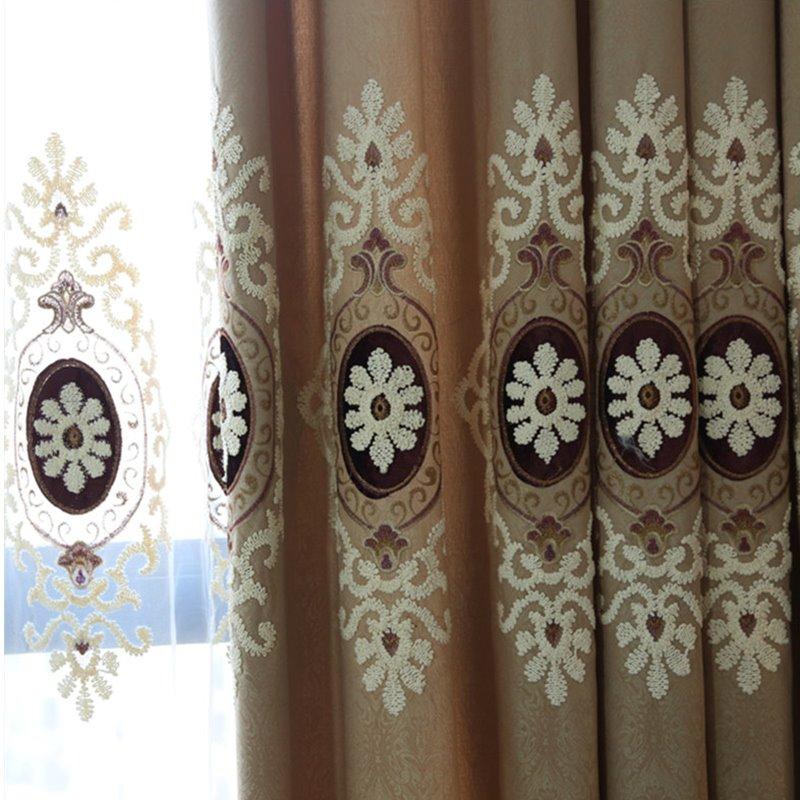 European Style Embroidery Blue Grommet Top Custom Curtain