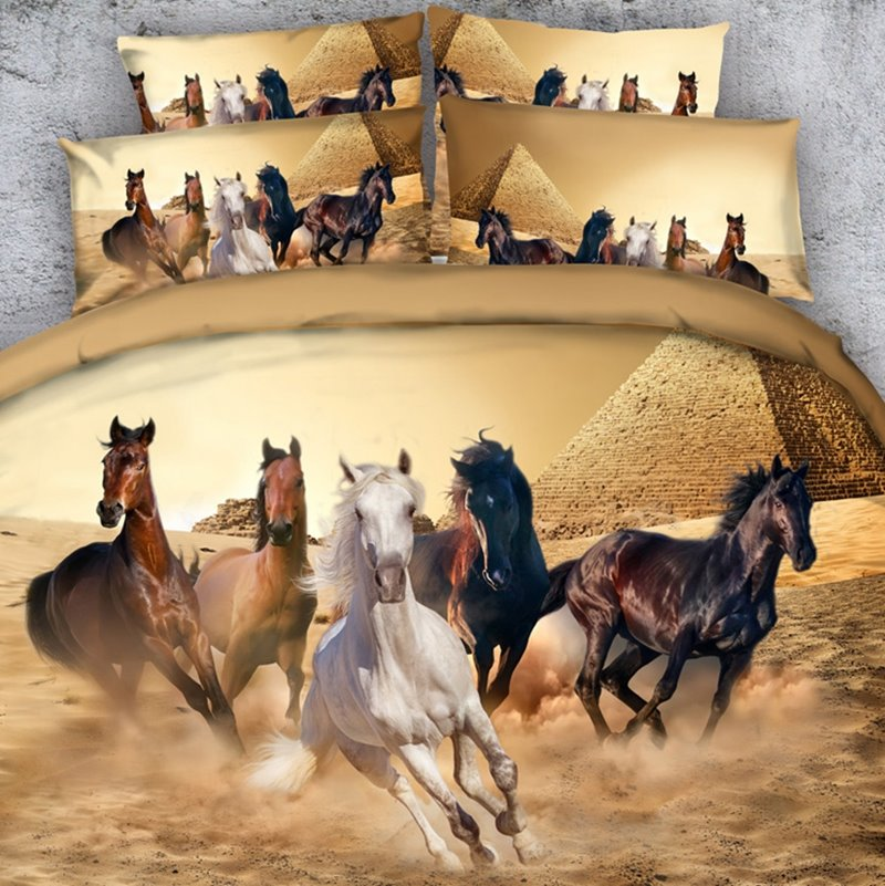 Running Horses and the Pyramid Printed 3D 4-Piece Bedding Sets/Duvet Covers