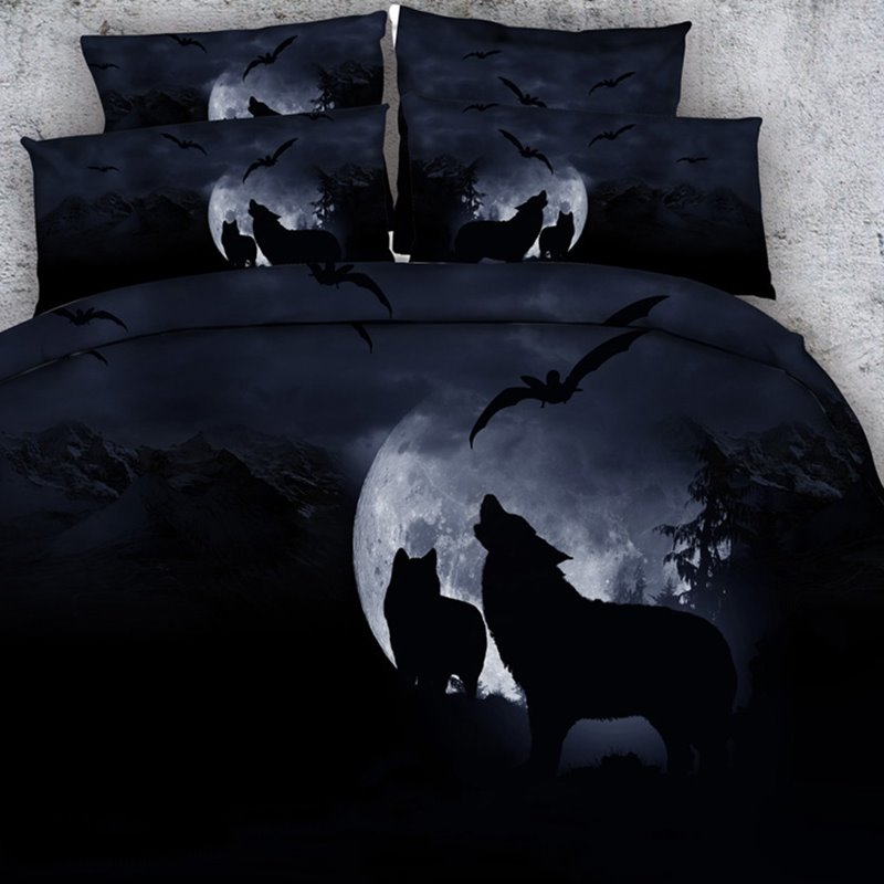 3d Wolf Howling At The Moon Printed Cotton 4 Piece Black