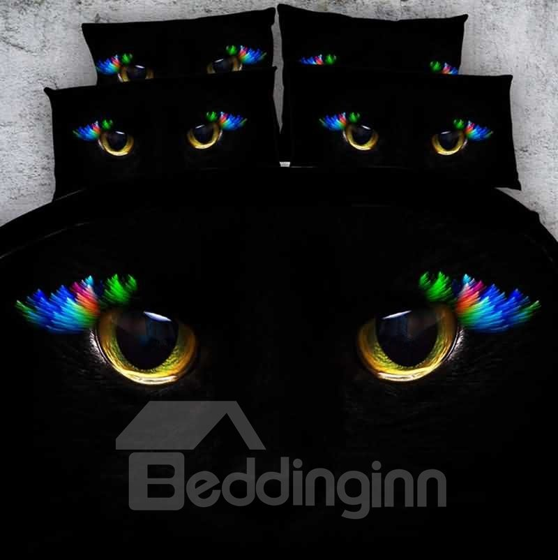 Cat Eyes Dark Print 5 Piece Comforter Sets Pic