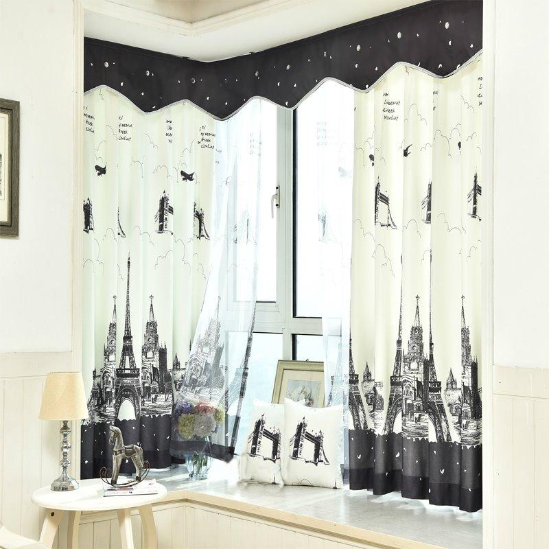 Black and White Eiffel Tower Printed Grommet Top Custom Curtain
