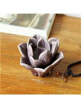 Fancy Ceramic Purple Flower Shape Design Candle Holder