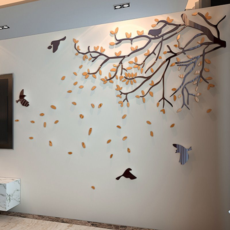 47 Orange Tree And Birds Acrylic Sturdy Waterproof Eco Friendly Removable  3D Wall Stickers