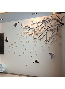 Amazing Acrylic Orange Tree Branches and Birds Design 3D Wall Stickers
