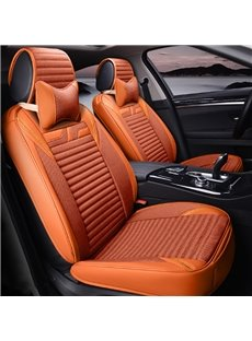 Popular Orange Solid Style Design With Good Permeability Flax Universal Five Car Seat Cover
