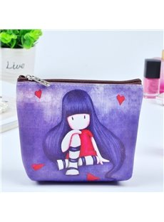 Purple Long Hair Girl Painting Women Makeup Bag Coin Wallet Purse (12730449_0_648_US_en 12730449) photo