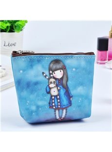 Blue Cartoon Girl Painting Women Makeup Bag Coin Wallet Purse (12730450_0_712_US_en 12730450) photo