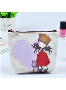 Cartoon Girl and Cat Painting Women Makeup Bag Coin Wallet Purse (12730453) photo