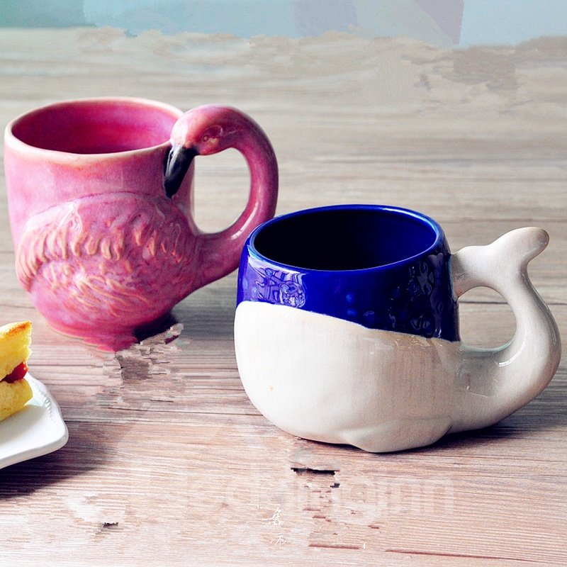 48 Cute Ceramic Whale And Flamingo Shape Design Coffee Mug