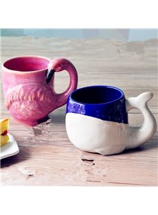 Cute Ceramic Whale and Flamingo Shape Design Coffee Mug