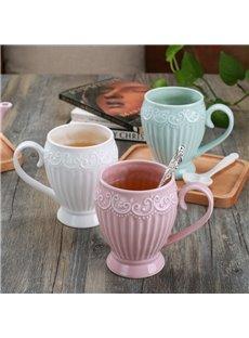 Beautiful Princess Style Ceramic Embossment Design Home Coffee Mug