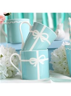 Elegant Blue Ceramic European Style 2 Pieces Home Coffee Mugs