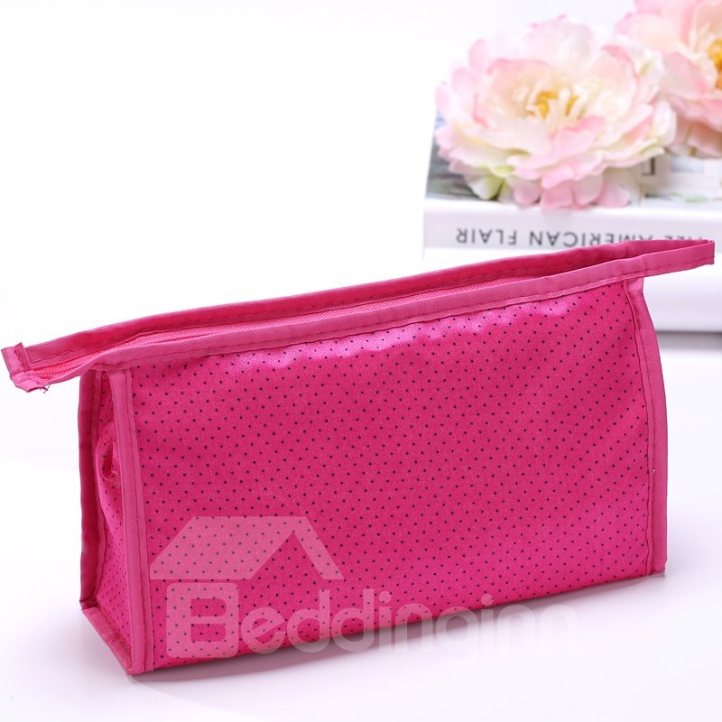 Contemporary Red Zipper Clutch Cosmetic Bags