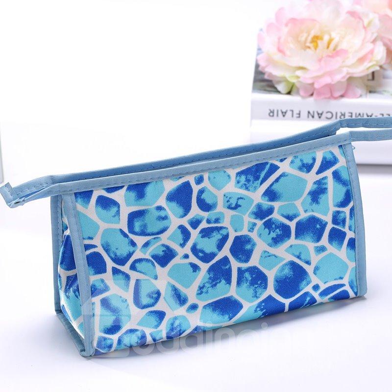 Contemporary Blue Zipper Clutch Cosmetic Bags