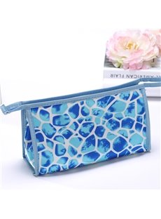 Contemporary Blue Zipper Clutch Cosmetic Bags