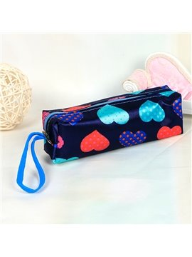 Dark Blue Heart-Shaped Pattern Pen Pencil Case Coin Purse Cosmetic Bag