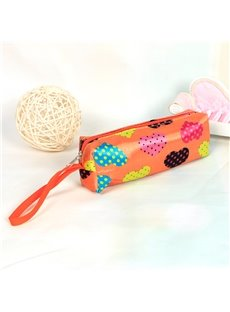 Orange Heart-Shaped Pattern Pen Pencil Case Coin Purse Cosmetic Bag