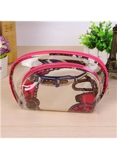 Rose Color Half Moon 3-Pieces Travel Cosmetic Bags