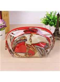 Red Half Moon 3-Pieces Travel Cosmetic Bags