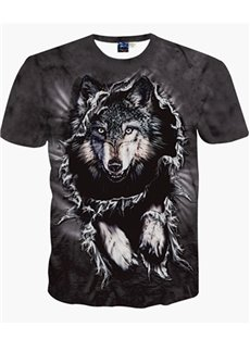 Round Neck Wolf Pattern Black 3D Painted T-Shirt