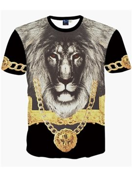 Round Neck Lion Face Pattern Black 3D Painted T-Shirt