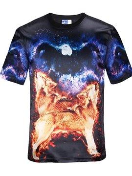 Modest Round Neck Wolves Pattern Black 3D Painted T-Shirt