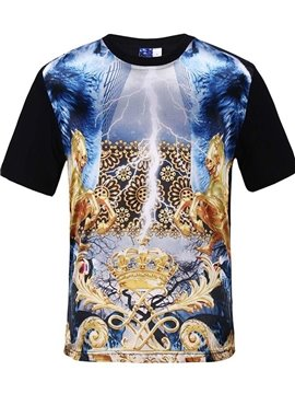 Round Neck Abstract Pattern Black 3D Painted T-Shirt