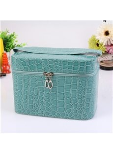 Blue Single Layer PU Cosmetic Bag with Quality Zipper