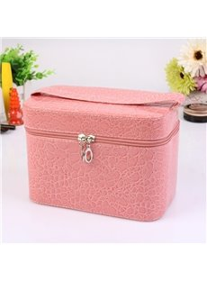 Pink Single Layer PU Cosmetic Bag with Quality Zipper