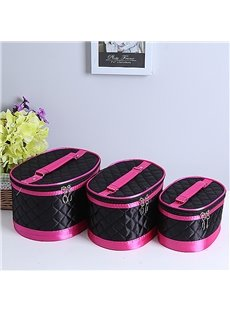 Black Big Size 3-Pieces Travel Cosmetic Bags With Mirror