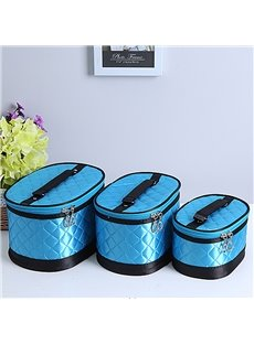 Blue Big Size 3-Pieces Travel Cosmetic Bags With Mirror