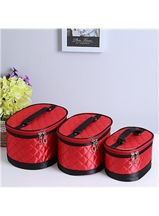 Red Big Size 3-Pieces Travel Cosmetic Bags With Mirror