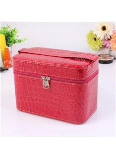 Red Single Layer PU Cosmetic Bag with Quality Zipper