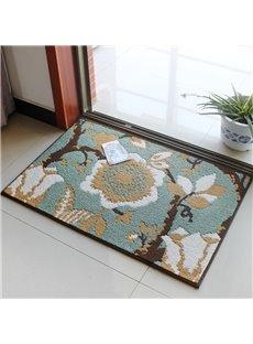 Stunning Rectangle Flower Pattern Skid Resistance Home Decorative Doormat