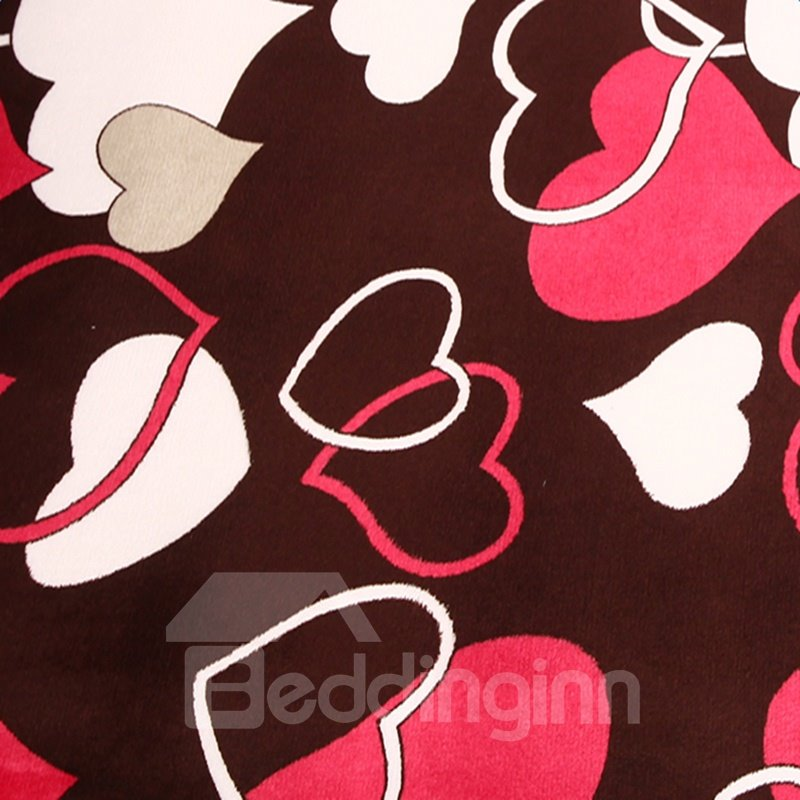 Rectangle Lovely White and Pink Heart Pattern Washable Area Rug