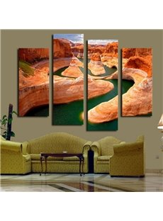 Creative Winding River Design 4 Pieces None Framed Wall Art Prints