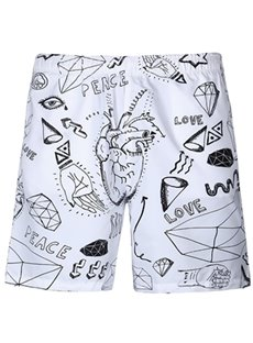 Fashion Abstract Pattern White 3D Beach Shorts