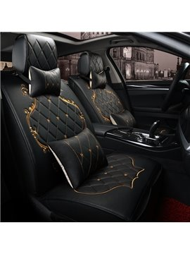 Classic Grid Black Design With Beautiful Gold Lines Decoration Universal Five Car Seat Cover