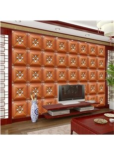 Fashion Orange Three-dimensional Square Plaid Pattern Decorative Wall Murals