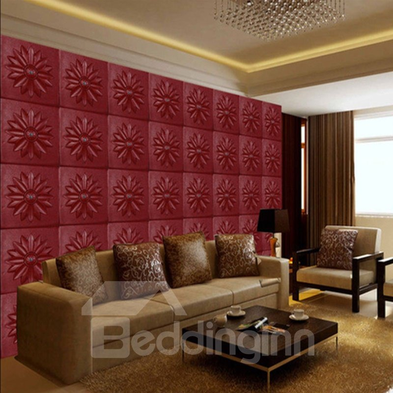 Modern Fashion Wine Red Flower Plaid Pattern Simple Style Wall