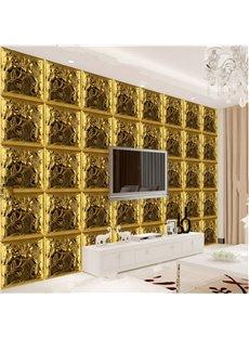 Luxury Golden Three-dimensional Plaid Pattern Home Decorative Wall Murals