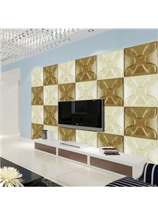Comtemporary White and Golden Three-dimensional Plaid Design Wall Murals