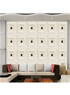 White Simple Style Three-dimensional Plaid Design Home Decorative Wall Murals