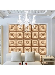 Splendid Golden Three-dimensional Square Plaid Pattern Decorative Wall Murals