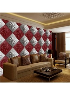 Realistic White and Red Flowers Square Plaid Pattern Decorative Wall Murals